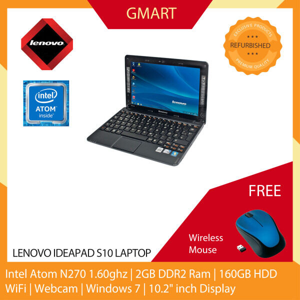 Lenovo Ideapad S10 Laptop / 10.2 inch LCD / Intel Atom N270 / 2GB DDR2 Ram / 160GB HDD / WiFi / Windows 7 / Webcam Malaysia