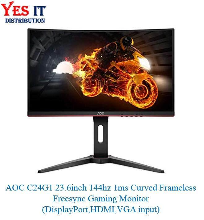 AOC C24G1 23.6inch 144hz 1ms Curved Frameless Freesync Gaming Monitor(DisplayPort,HDMI,VGA input) Malaysia