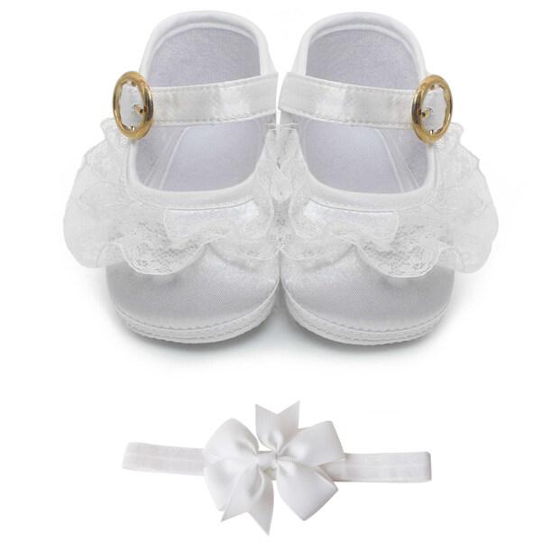 Delbao Màu Trắng Tinh Khiết Làm Lễ Rửa Tội Giày Em Bé Trẻ Sơ Sinh Rửa Tội Giày Cho 0-1 Năm Tập Đi Bán Buôn giá rẻ