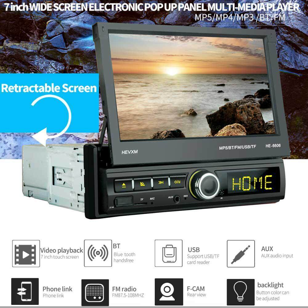 niceEshop Car Stereo Receiver, 7 Inch Retractable Touch Screen HD MP5  Single Din Bluetooth Colorful Backlit Player, Support USB/TF Card/FM  Radio/Free