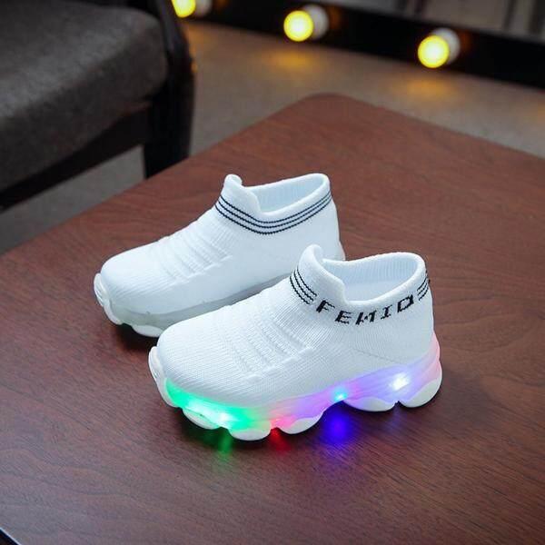 Giá bán Kio Giày Trẻ Em Cho Bé Gái Bé Trai Chữ Lưới LED Dạ Quang Cổ Thể Thao Chạy Giày Giày Giày Cho Bé