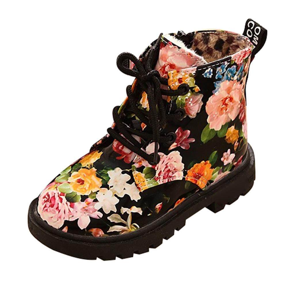 Giá bán Cô Gái Thường Ngày Chiến Đấu Giày Mắt Cá Chân Giày Họa Tiết Hoa Phong Cách Anh Quốc Martin Giày Trẻ Em Ấm Ủng