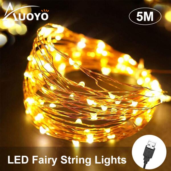 Auoyo Dây Đèn Led Đom Đóm Bộ đèn led fairy light dài 5m10m sử dụng cổng USB Fairy Lights 5m Dây đèn đom đóm dây đồng ánh sáng led trang trí nhà cửa, trang trí sinh nhật, đám cưới, sự siện 50/100LED String Lights