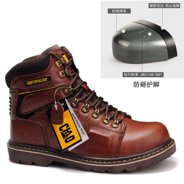 CAT Safety Shoes Tough Guy Leather Boots Top Layer Cowhide High-help Work Boots Anti-smashing Martin Military Boots Labor Insurance Shoes