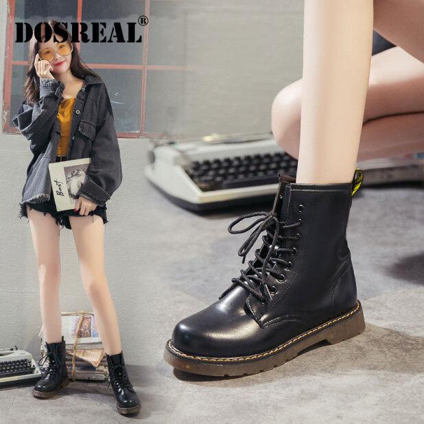 Bốt Da Đế dày cho nữ, giày cao đến mắt cá chân, có dây buộc, đế bằng, màu đen, phong cách Hàn Quốc giá rẻ