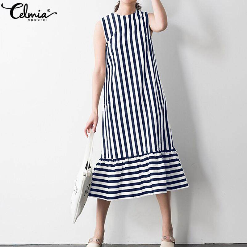 790d8c76f5 Celmia Women Flare Frill Sleeveless Summer Holiday Party Striped Midi Long  Dress