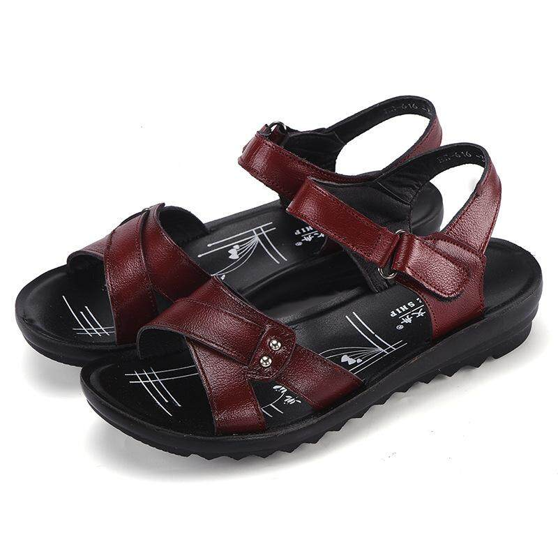 4f175ec8d027a 2008 Summer New Women s Sandals Leather Flat Bottom Large Size Mid aged Old Mother s  Shoes Round