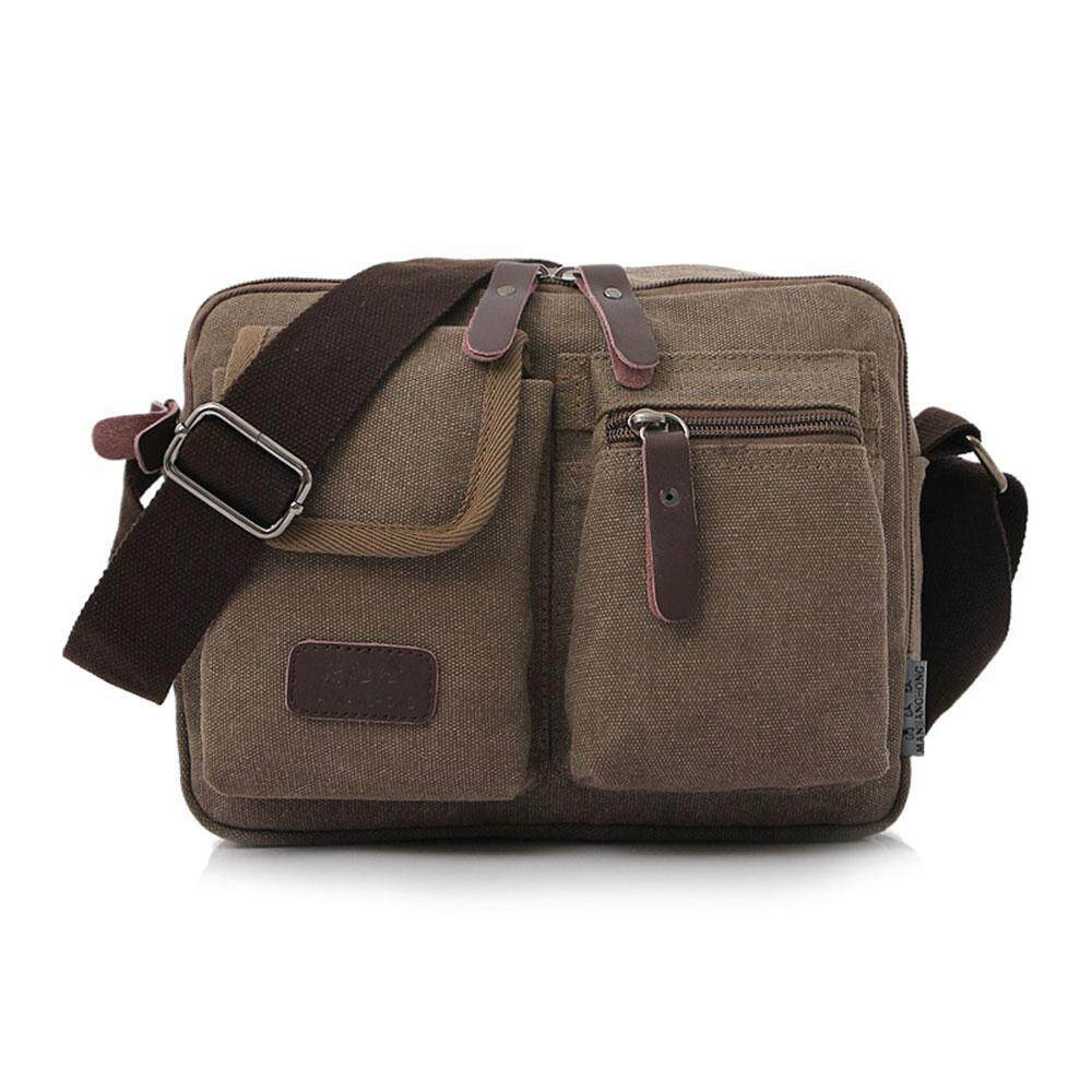 4db557986fd8 Auoker Mens Messenger Bag Waterproof Vintage Genuine Leather Waxed Canvas  Briefcase Large Satchel Shoulder Bag Rugged
