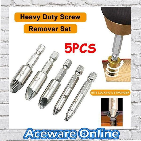 5PCS Heavy Duty Damaged Screw Extractor Set High Speed Steel Easy Out Bolt Screw Remover Extractor
