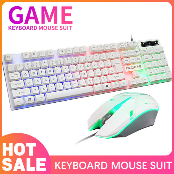 Gaming Keyboard and Mouse Combo LED Colorful Light Gaming Mechanical Feel Keyboard and Mouse Set Full Size Edition Backlit Gaming Keyboard For PC/Laptop Malaysia