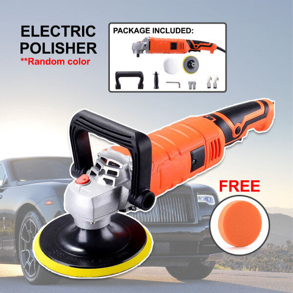 66 Happy Tool Ready Stock Automotive 7 180mm 7 Inch 220V Electric Polisher Car Polishing Machine Orange Free 1 Flat Sponge