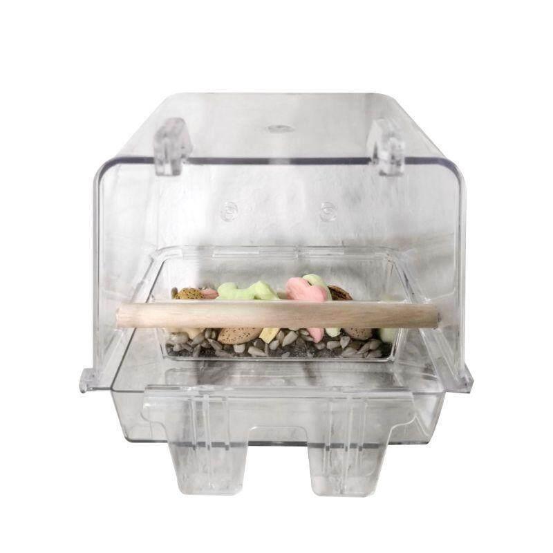 Khay Cho Chim Ăn Trong Suốt, Bằng Nhựa Acrylic, Có Cửa Sổ Trưng Bày, Dụng Cụ Giữ Chim, Vẹt Tự Động, Treo Bồn Tắm