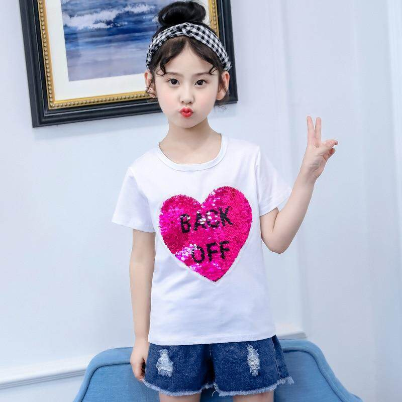 ed8c3d8289791 Baby Girls tops t shirt with sequins Summer Cotton Short Sleeves birthday kids  T-Shirts