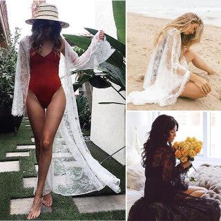 Thiên Đường Mua Sẵng-thiên Đường Phụ Nữ Mới Ren Hoa Kimono Áo Cardigan Bãi Biển Bikini Cover Up Quấn Beachwear Kỳ Nghỉ Dài Maxi Dress Cover-Up thumbnail