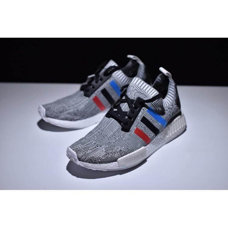 การใช้งาน  อ่างทอง รองเท้า Adidas NMD R1 รองเท้าวิ่งผู้ชายรองเท้าผ้าใบ Tri ลายเส้นสีสีขาว 40-44