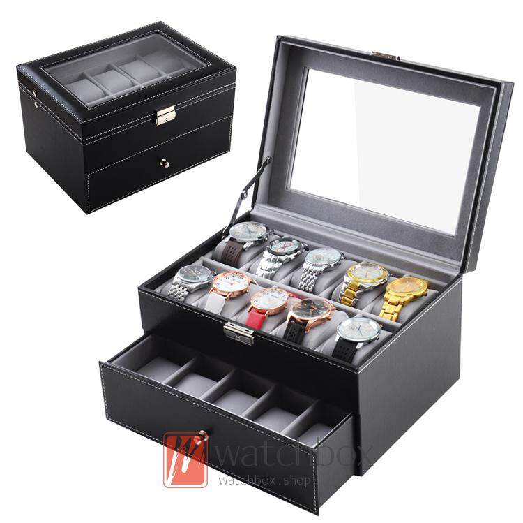 Double layer 20-bit PU leather watch jewelry box storage display box Malaysia