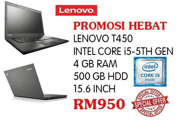 PROMOSI HEBAT LENOVO T450 CORE I5-5TH GEN 4 GB RAM 500 GB HDD 15.6 INCH Malaysia
