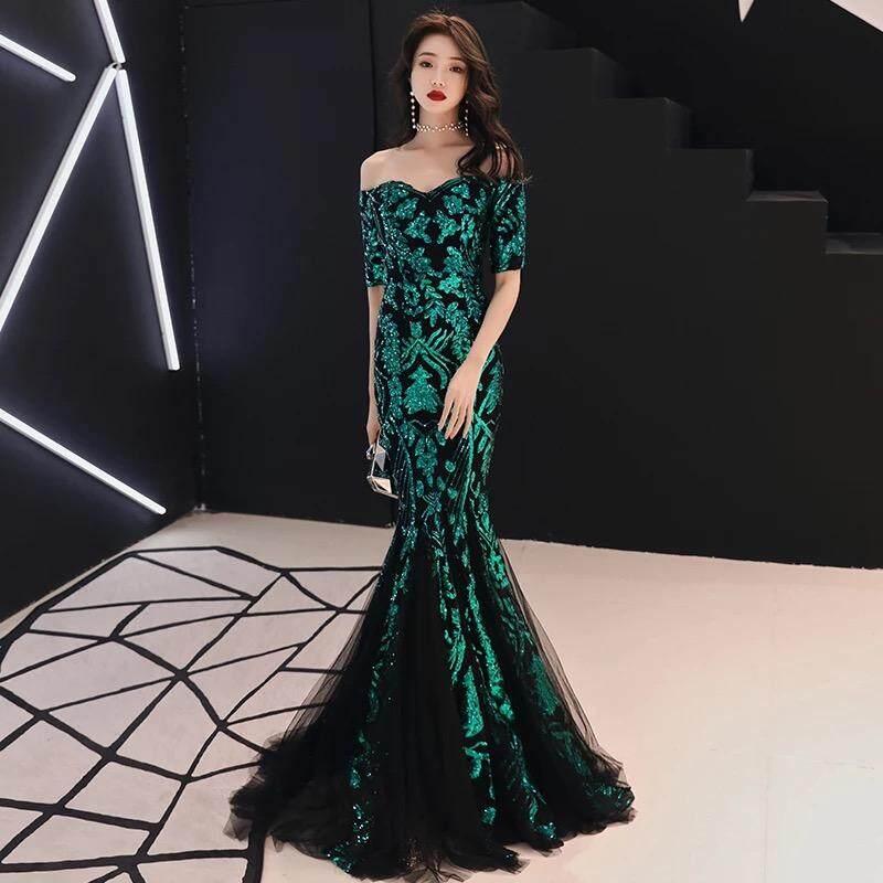5b2ff74a78 JVIVI 2019 new arrival womens fashion floor length maxi long dress elegant  sequins formal business office evening dinner dress slash neck wedding ...