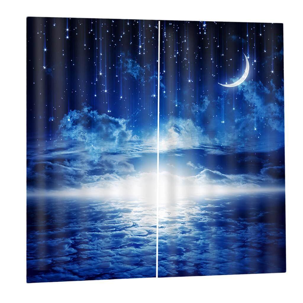 Dolity 2Pcs/Panels Moon Star Cloud Window Curtains Drapes for Bedroom Balcony etc