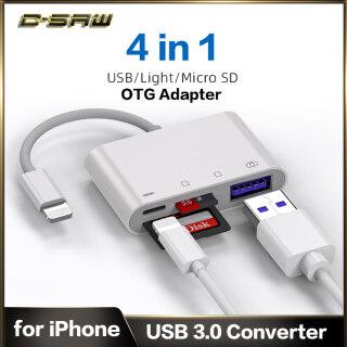 C-SAW 4 Trong 1 Lightning Sang USB OTG Đầu Đọc Thẻ SD TF Cáp OTG iPhone Cho iPhone 12 11 X XS 8 7 iPad USB 3.0 Cổng Sạc 8 Pin thumbnail
