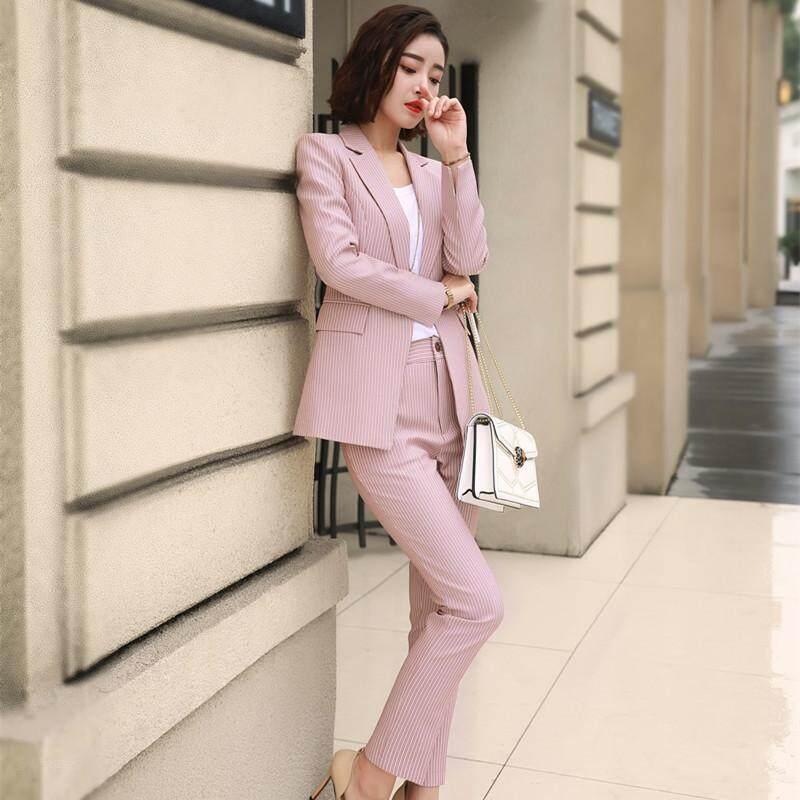 382b2fb51694 China. Fashion Formal Suits Casual Business Wear Long Sleeve Coat Striped  Chic 2pcs women's blazer suit set