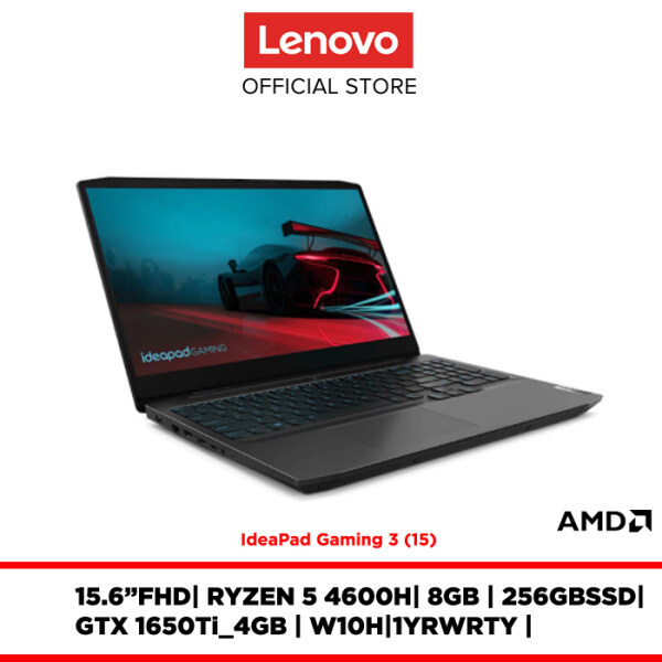 Lenovo Noteboo Laptop IdeaPad Gaming 3 82EY0040MJ 15.6FHDWVA/R5-4600H/8GB/256GBSSD/GTX 1650Ti/W10H/1YR WARRANTY/FREE:BACKPACK,MOUSE,2YR WARRANTY Malaysia
