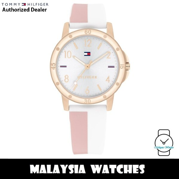 (100% Original) Tommy Hilfiger 1720015 Quartz Silver Dial Rose Gold-Tone Stainless Steel Case Silicone Strap Girls Watch (2 Years International Warranty) Malaysia