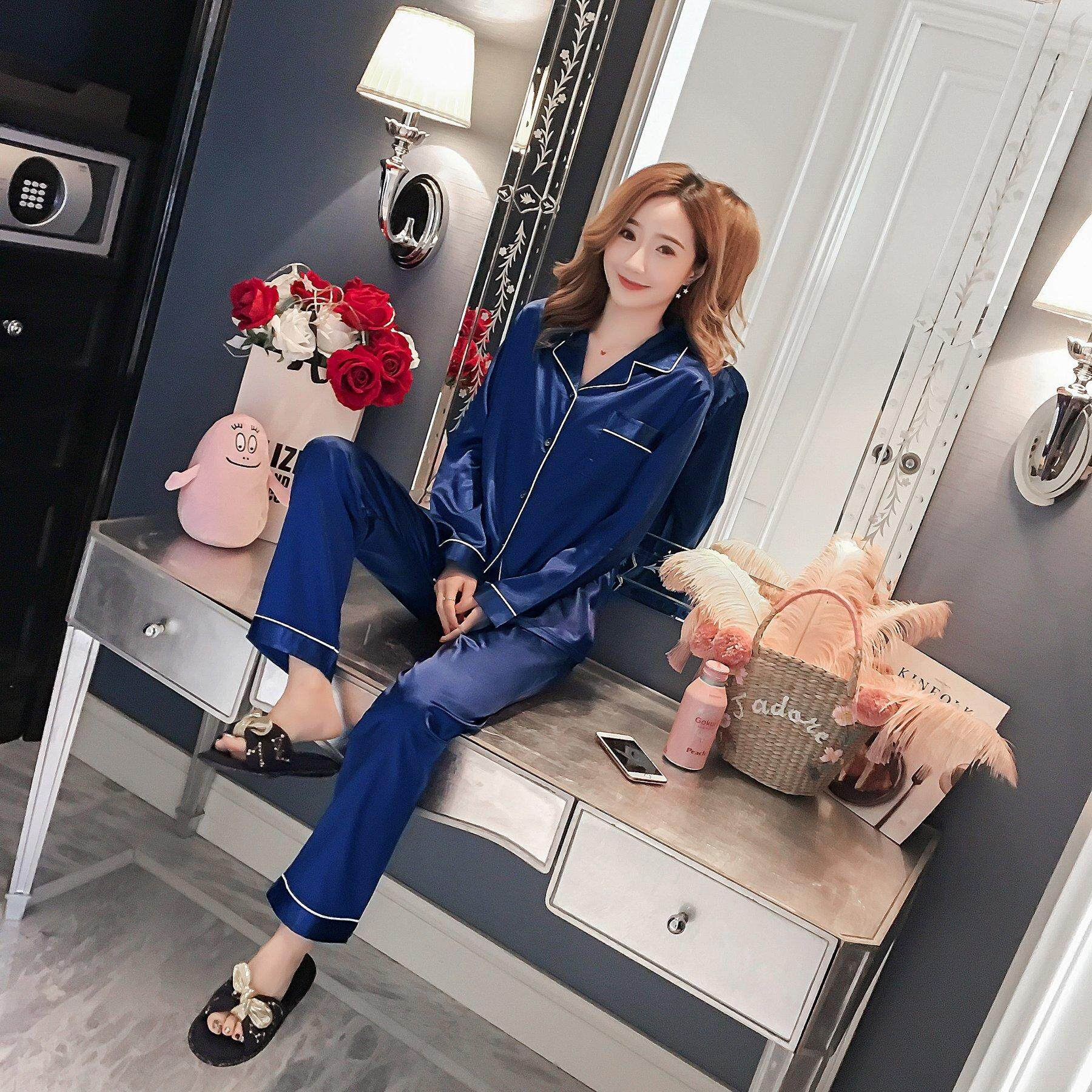 2e22afb873 [READY STOCK] PAJAMAS ladies wear comfortable ice silk ladies sleeepwear  with long sleeve and