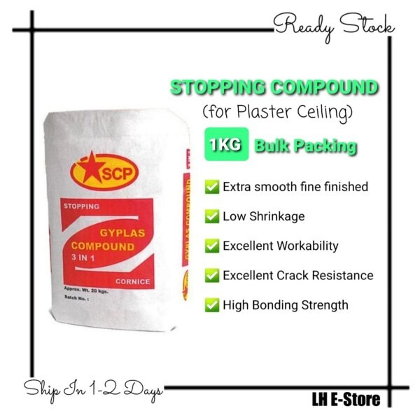 1KG SCP 3 IN 1 Stopping Compound (Plaster Ceiling) for Bonding, Jointing, Skimming