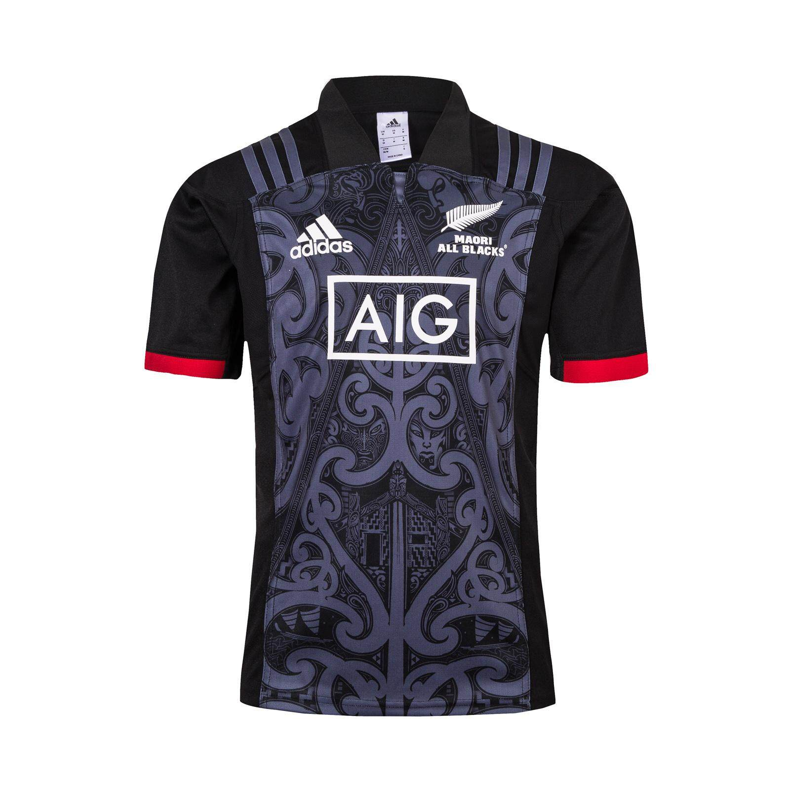 864b90f0df2 New Zealand All Blacks Maori 2018 2019 Rugby Home Jersey Short Sleeve Black  for Men