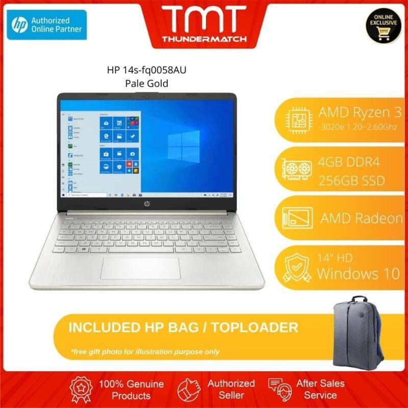 HP 14s-fq0058AU (Pale Gold)(24W17PA) Laptop AMD 3020e 4GB 256GB 14 HD W10 + HP Bag Malaysia