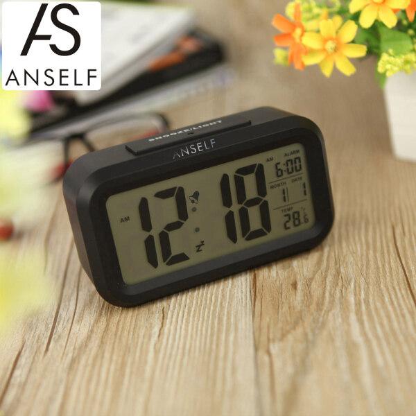 Đồng hồ báo thức kỹ thuật số anself lặp đi lặp lại cảm biến kích hoạt ánh sáng đèn nền thời gian ngày hiển thị nhiệt độ màu trắng bán chạy