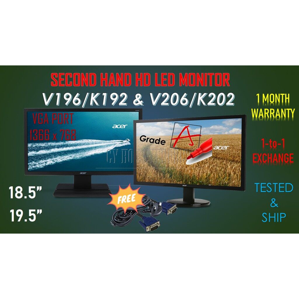 Acer 18.5  / 19.5   LED MONITOR with VGA PORT + VGA CABLE + POWER CORD CABLE Malaysia