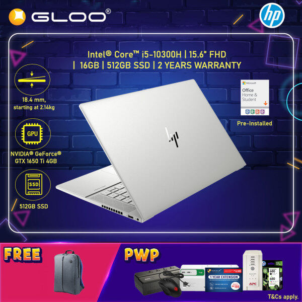 NEW HP ENVY Laptop 15-ep0009TX 15.6 FHD (i5-10300H, 512GB SSD, 16GB, NVIDIA GTX 16590 Ti 4GB, W10H) - Silver [FREE] HP Backpack + Pre-Installed with Microsoft Office Home and Student (Grab/Touch & Go credit redemption : 1/2-30/4*) Malaysia