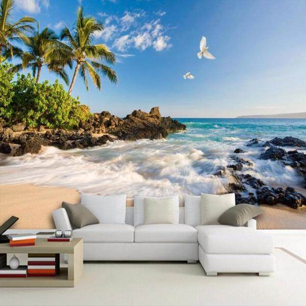 Photo Wallpaper 3D Modern Tropic Seaside Beach Living Room Sofa TV Background DIY Vinyl Wall Sticker
