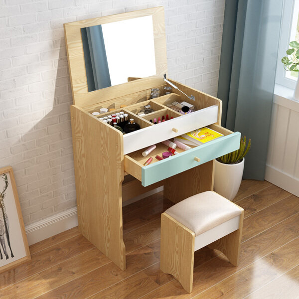 60X40X113CM, Dressing Table Set, Solid Wood European Bedroom Dressing Table with Stool, Folding Mirror, Seperated Drawer, 2 Drawers, Princess Makeup Cabinet, Luxury Small Dresser