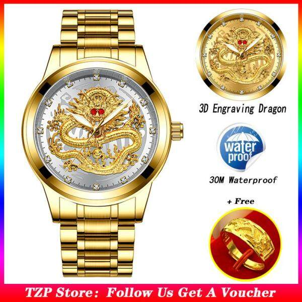 [With Free Dragon Ring]TZP Store Hot Sale Fashion Mens watch 3D Engraving Dragon Gold Watches For Men Top Brand Luxury Waterproof Luminous Full Steel Quartz Dragon Male Watch 2019 Male Watch Malaysia