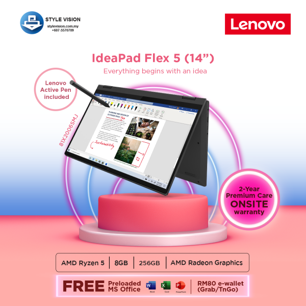 LENOVO IdeaPad Flex 5-14ARE05 (81X2006SMJ) | (AMD R5-4500U | 8GB | 256GB | RADEON GRAPHIC | W10 | OPI | 14FHD ) Malaysia