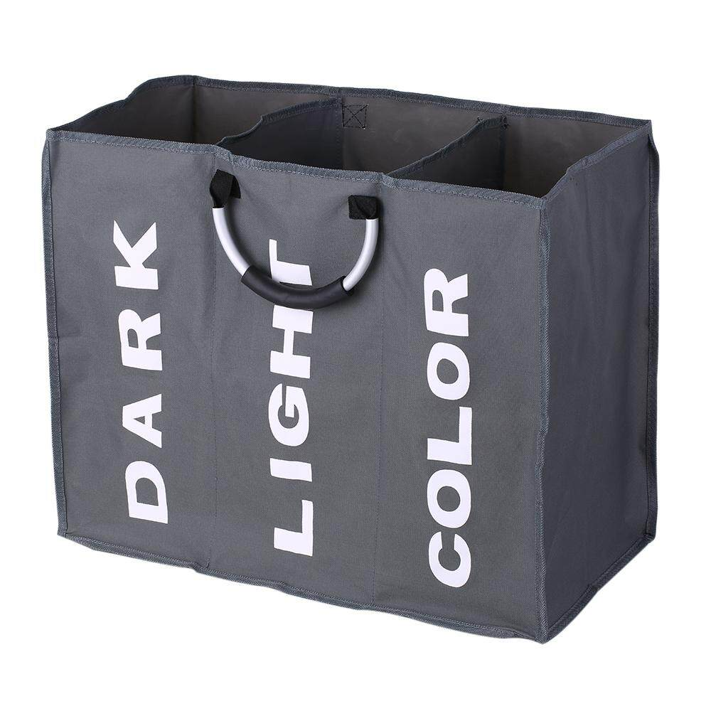 3-Section Large Foldable Oxford Laundry Basket Bag Dirty Clothes Storage Bag Organizer With Aluminum Handles By Haitao.