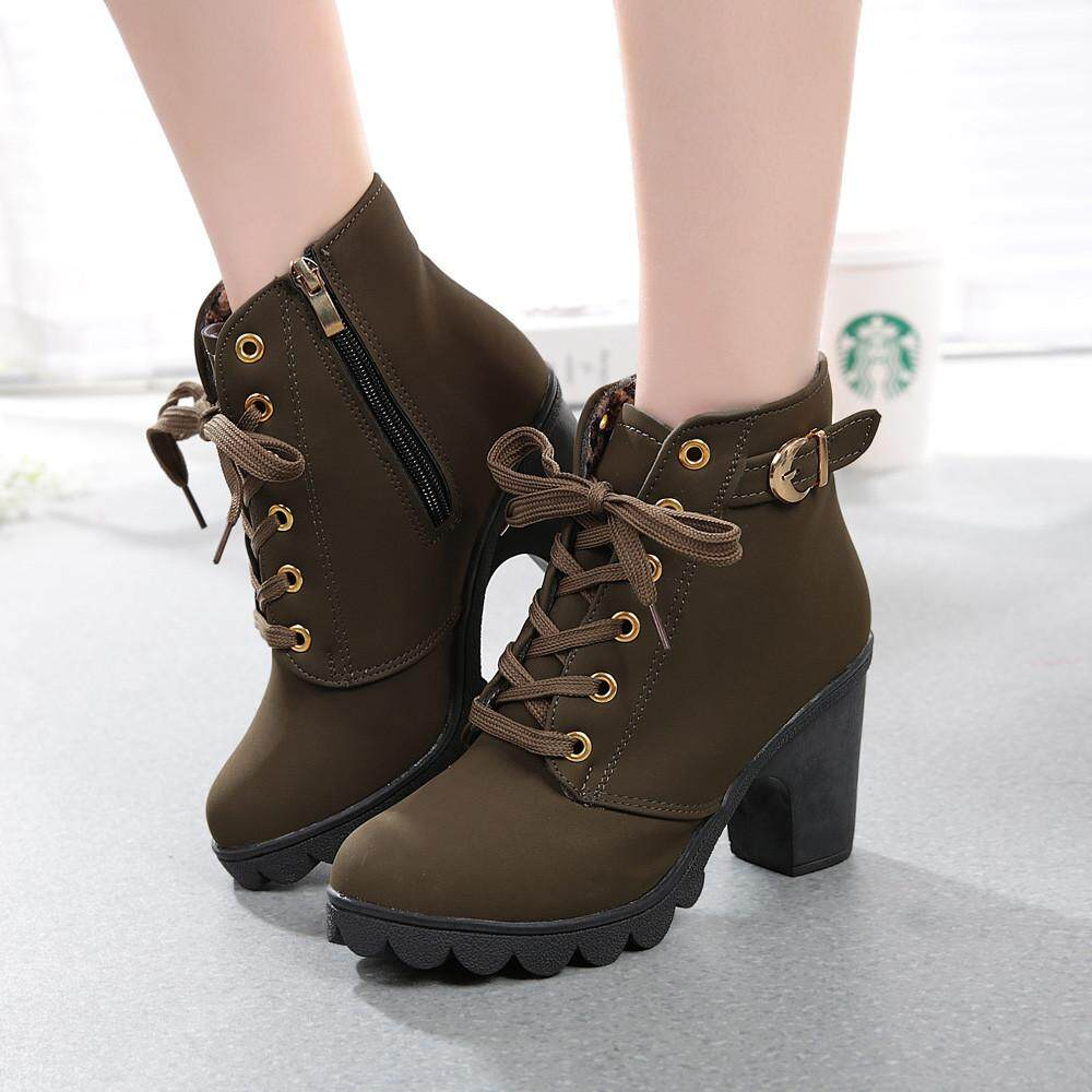 d64a8b3bc4 Womens Fashion High Heel Lace Up Ankle Boots Ladies Buckle Platform Shoes  Free Shipping