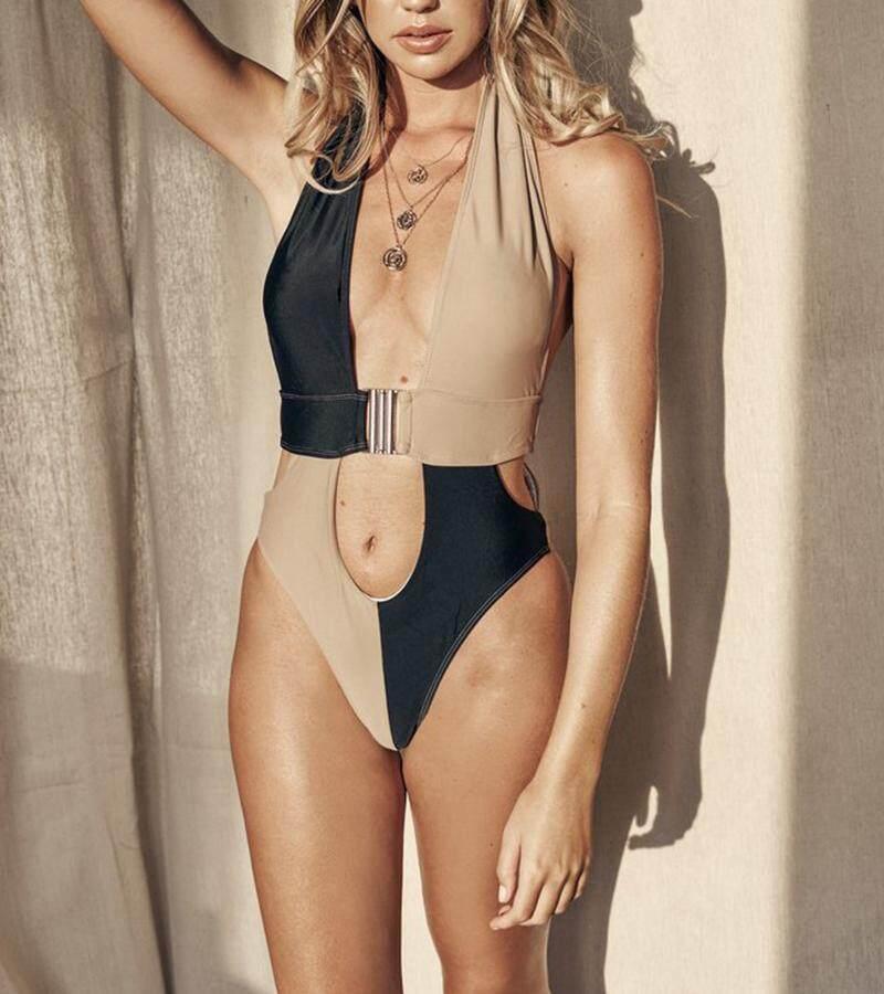1dcf5425945 Female Beachwear 2019 New High waist Leopard Stitching Bikini Set Sexy  Bathing Suits High Quality Push