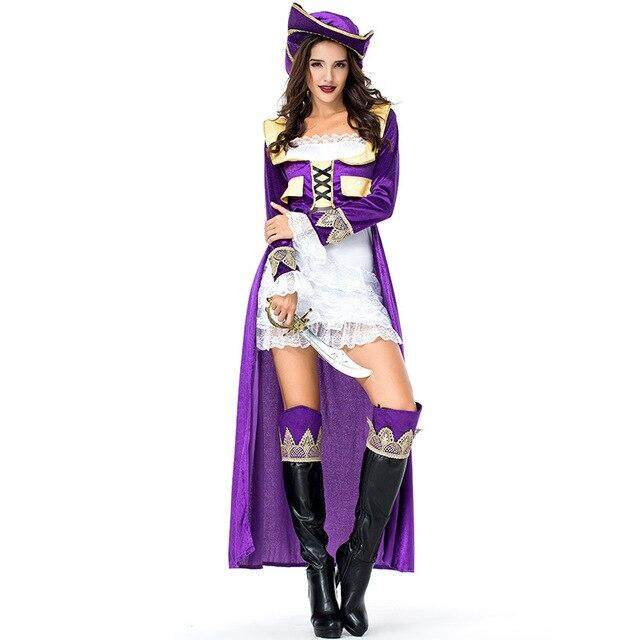 Adult Women's Luxury Pirate Costume Imitation Halloween Party Cosplay Pirate Clothes Fancy Dress Up Deluxe Pirate Costumes