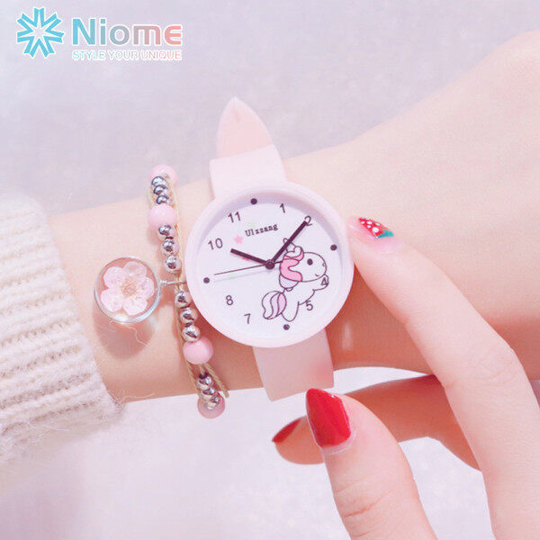 Niome Cute Candy Color Korean Unicorn Print Quartz Watch for Kids Girls Student Wristwatch with Silicone Strap Malaysia