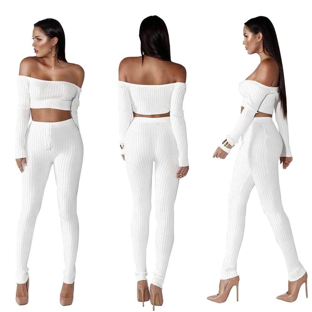 Women Fashion Split 2 Piece Set Casual Bodycon Outfit Sportswear