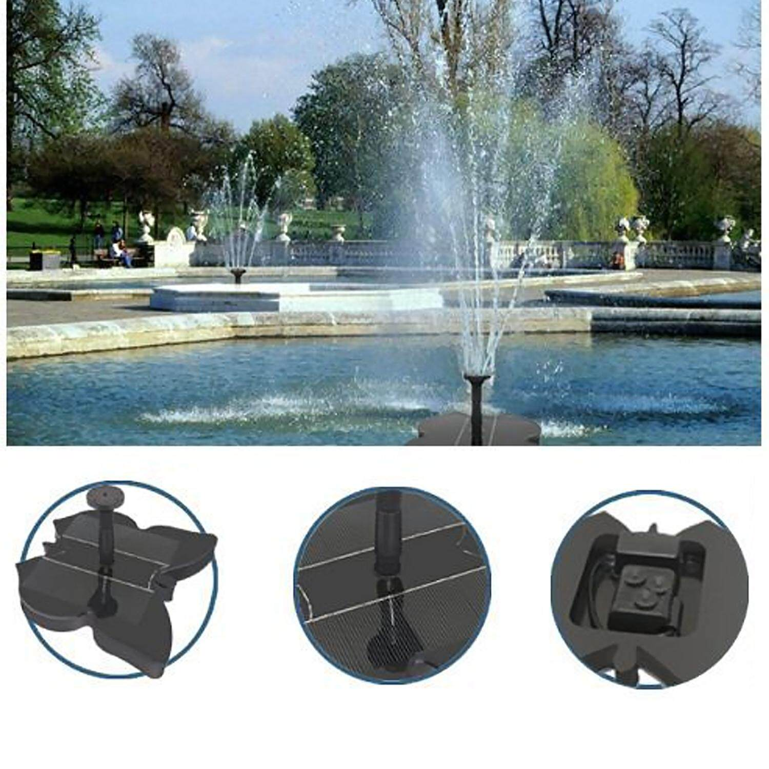 Vococal Solar Powered Miniature Fountain Water Pump for Bird Bath Fish Tank Pond Aquarium Pool Garden Yard Decoration Butterfly