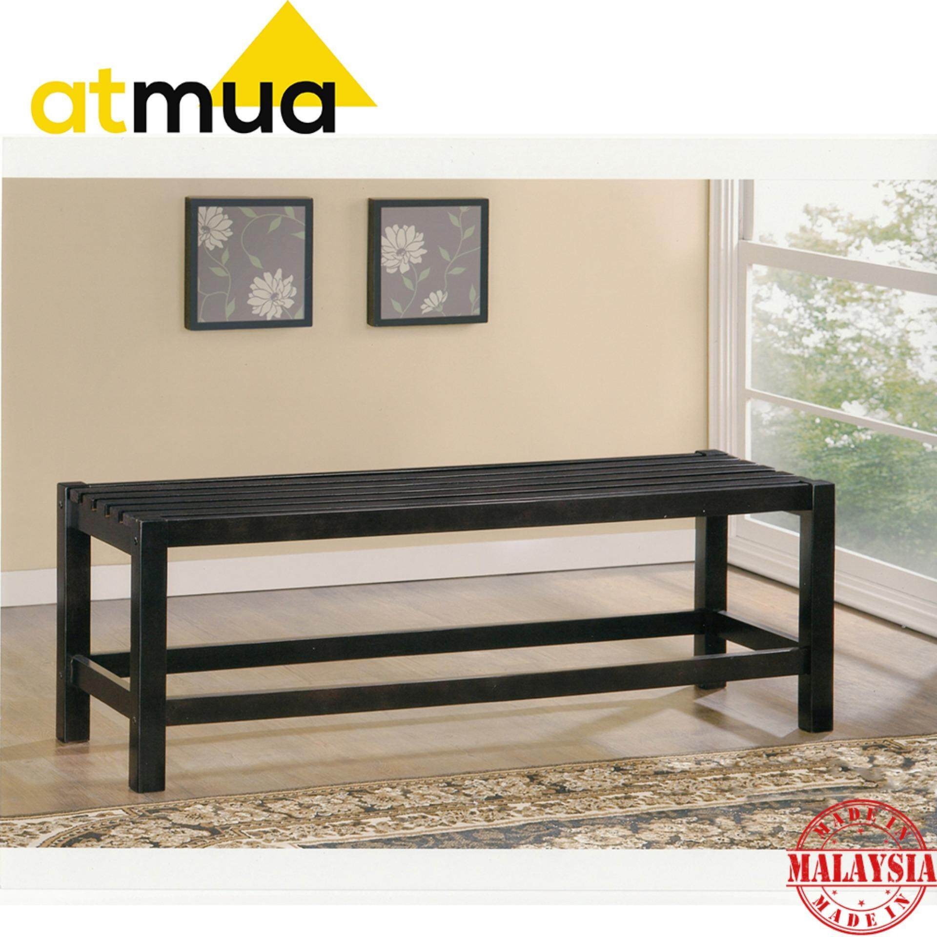 Atmua Solid Rubber Wood Bench Chair- 4 Feet [Full Solid Wood]