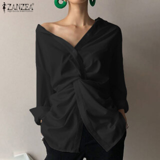 ZANZEA Áo sơ mi dáng dài cổ chữ V có khuy cài ve áo thiết kế đổ xuống dành cho nữ có cỡ lớn - INTL thumbnail