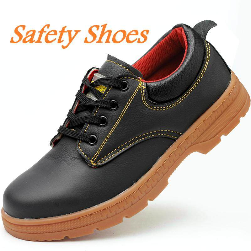 Safety Shoes Mens Steel Toe Lightweight Anti-smashing Unisex Work Sneakers Breathable Wear-resisting Work Shoes leather