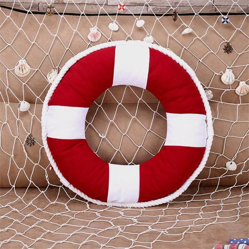 Mediterranean Style Decorative Life Ring Lifebuoy Shaped Cushion Throw Nautical Pillow Home Decoration 40x40cm