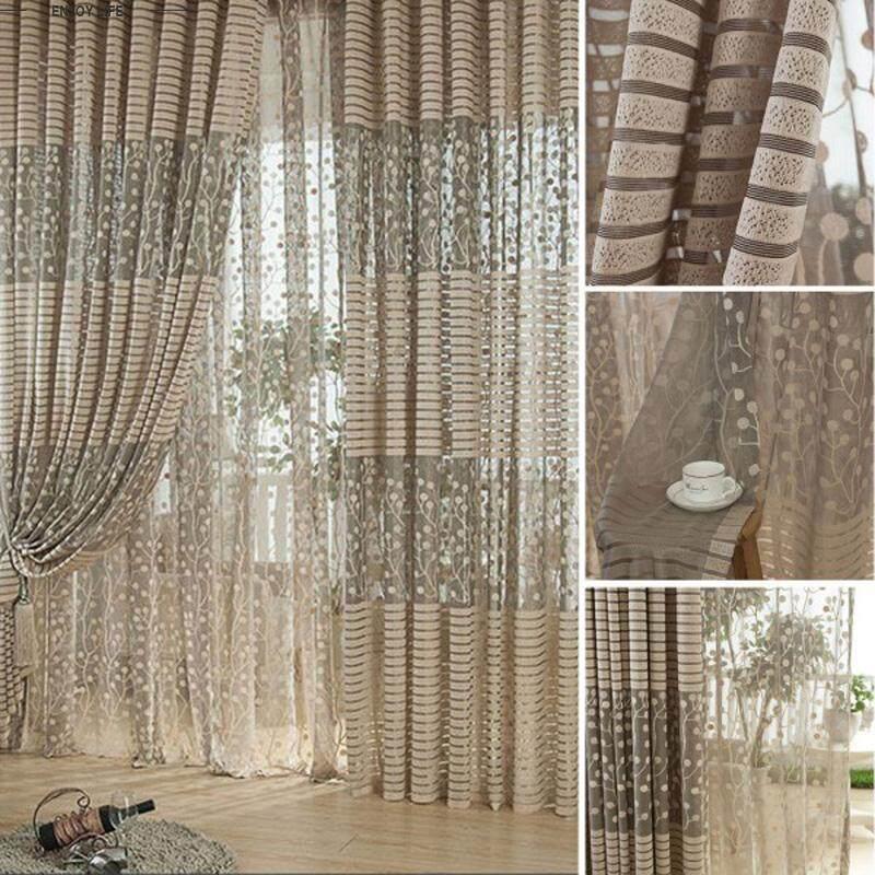 Rèm Cửa Sổ Phòng ngủ hình lá sang trọng Voan Diềm Xếp Nếp xuyên thấu hình lá vải tuyn